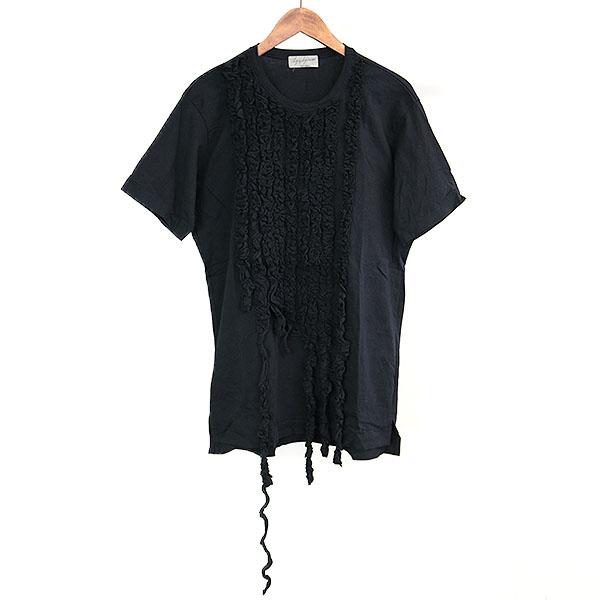 【中古】Yohji Yamamoto POUR HOMME ヨウジヤマモトプールオム 16SS フロントフリルデザインTシャツ メンズ ブラック 3