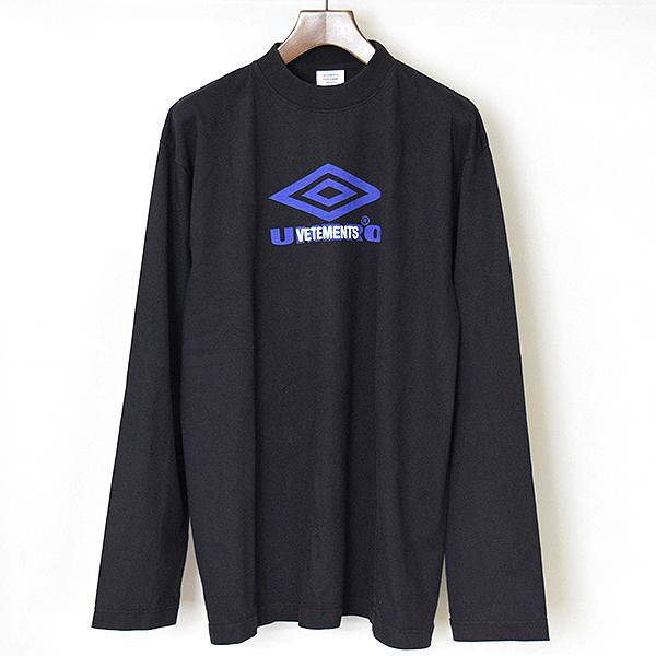 【中古】VETEMENTS ヴェトモン ×UMBRO 18SSプリントロゴ刺繍ロングスリーブカットソー メンズ ブラック S