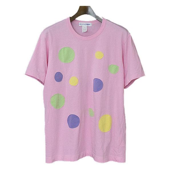 【中古】COMME des GARCONS SHIRT コムデギャルソンシャツ 18SS コットンジャージードットパッチTシャツ メンズ ピンク L