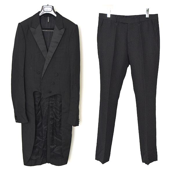 【中古】Dior HOMME ディオールオム 06AW ロングテールサテンラペルタキシードセットアップスーツ メンズ ブラック 46