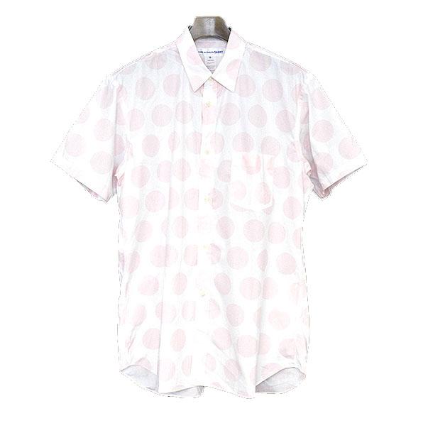 【中古】COMME des GARCONS SHIRT コムデギャルソンシャツ 18SS WHITE SHORT SLEEVE SHIRT ドットデザイン半袖シャツ メンズ ホワイト×ピンク M