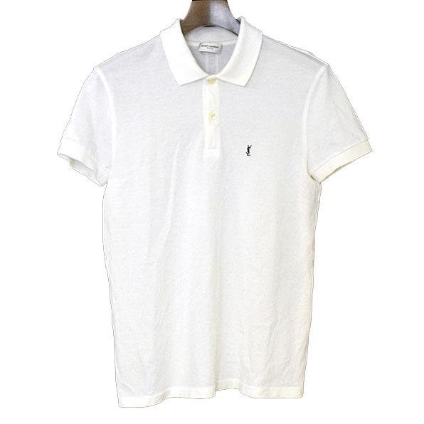 【中古】SAINT LAURENT PARIS サンローラン パリ ワンポイント刺繍ポロシャツ メンズ ホワイト S