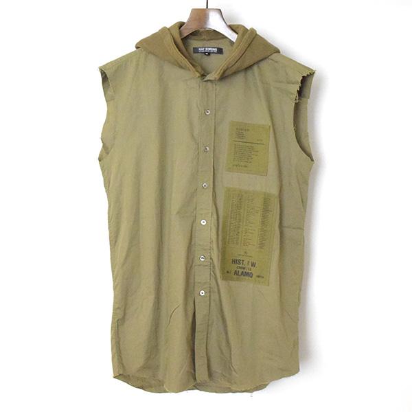 【中古】RAF SIMONS ラフシモンズ 05AW Poltergeist期 フードドッキングパッチノースリーブシャツ メンズ カーキ 46