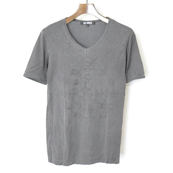 【中古】RAF SIMONS ラフシモンズ 04SS 宗教期 VネックプリントTシャツ メンズ グレー 48