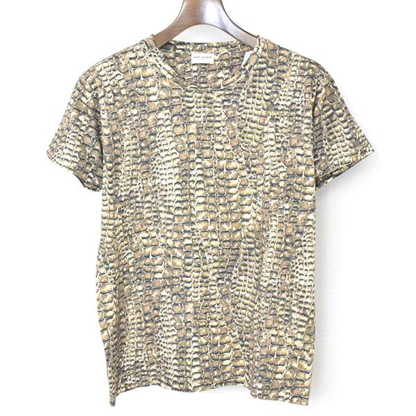 【中古】SAINT LAURENT PARIS サンローラン パリ 14SS パイソン柄Tシャツ メンズ ブラウン S
