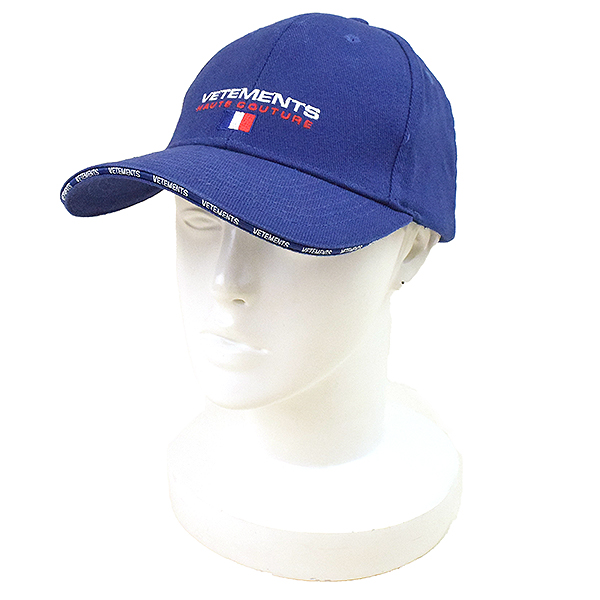 【中古】VETEMENTS ヴェトモン 18SS Haute Couture Baseball Cap ロゴ刺繍ベースボールキャップ メンズ ブルー F