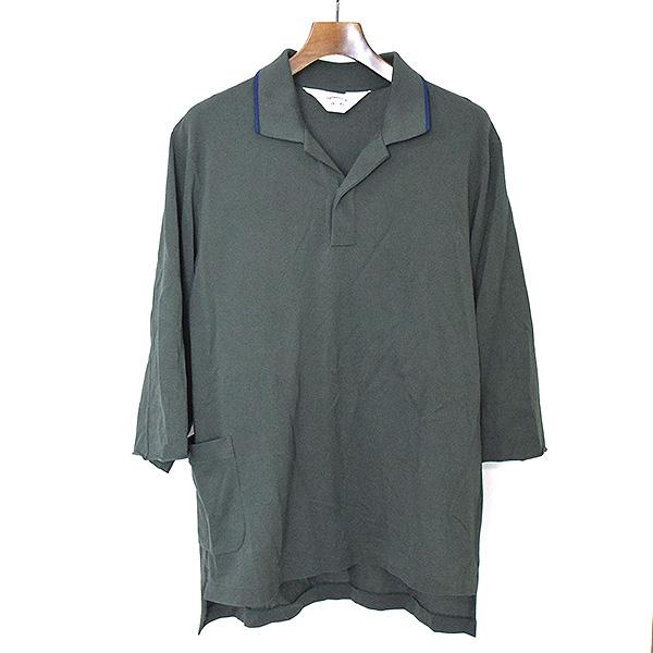 【中古】SUNSEA サンシー 18SS BIG POLO SHIRT ビッグポロシャツ メンズ グリーン 2