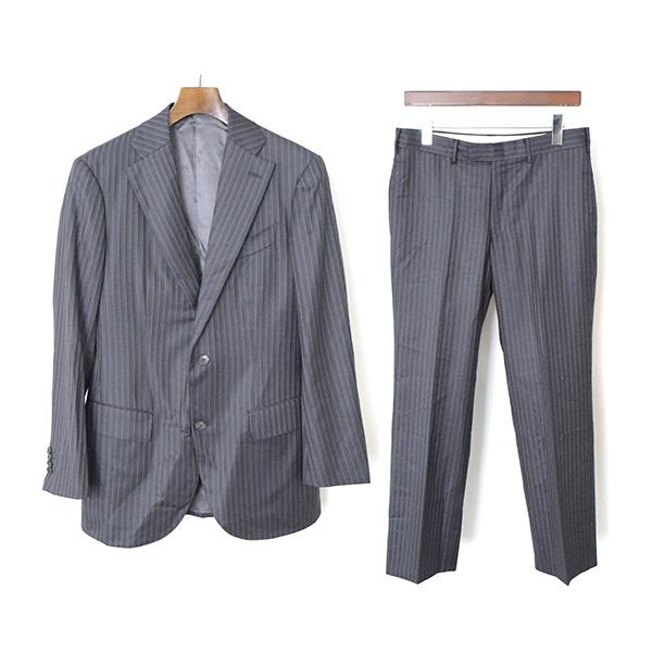 【中古】TAKIZAWA SHIGERU タキザワシゲル DORMEUIL 2Bストライプセットアップ/スーツ/46/GRY/46/GRY メンズ グレー 46