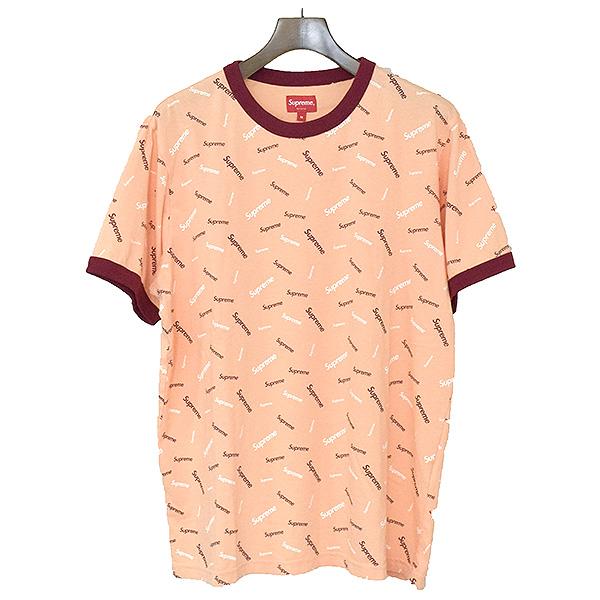 【中古】Supreme シュプリーム 18AW Scatter Ringer Tee 総ロゴTシャツ メンズ ピンク M