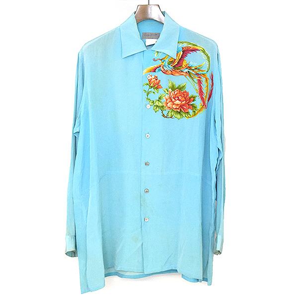 【中古】Yohji Yamamoto POUR HOMME ヨウジヤマモトプールオム 96SS 花と少年期 フラワープリントシルクシャツ メンズ ターコイズ M