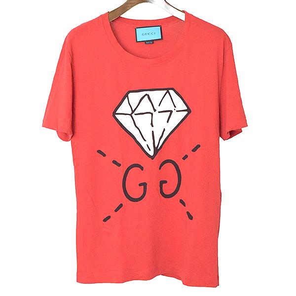 【中古】GUCCI グッチ 17SS Ghost GGダイヤプリントTシャツ メンズ レッド S