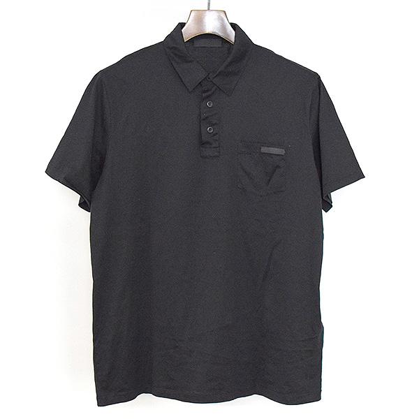 【中古】PRADA プラダ ストレッチコットンポロシャツ メンズ ブラック L