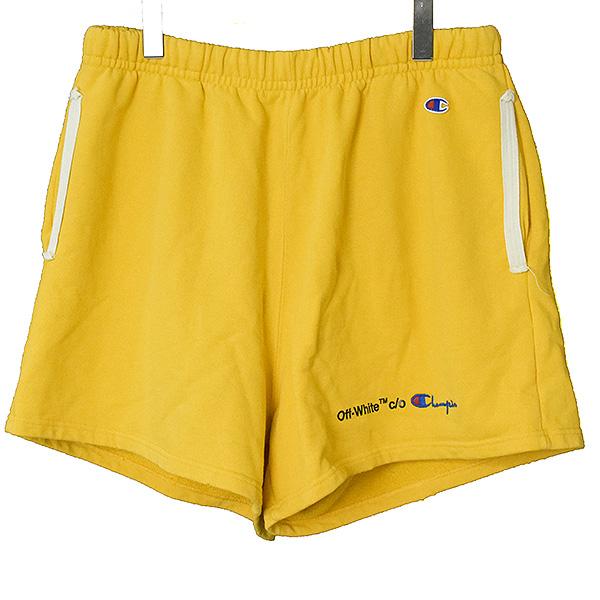 【中古】OFF-WHITE オフホワイト 18SS ×Champion Shorts ダメージ加工ロゴプリントスウェットハーフパンツ メンズ イエロー S