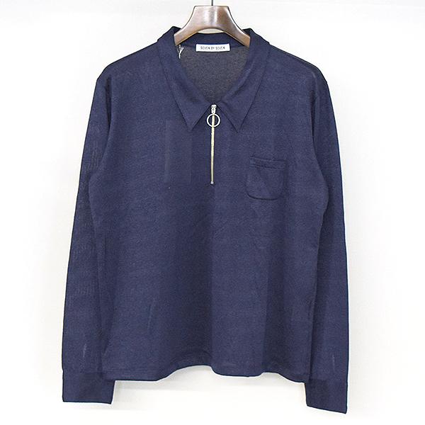 【中古】7×7 セブンバイセブン 17AW ハーフジップポロシャツ メンズ ネイビー M