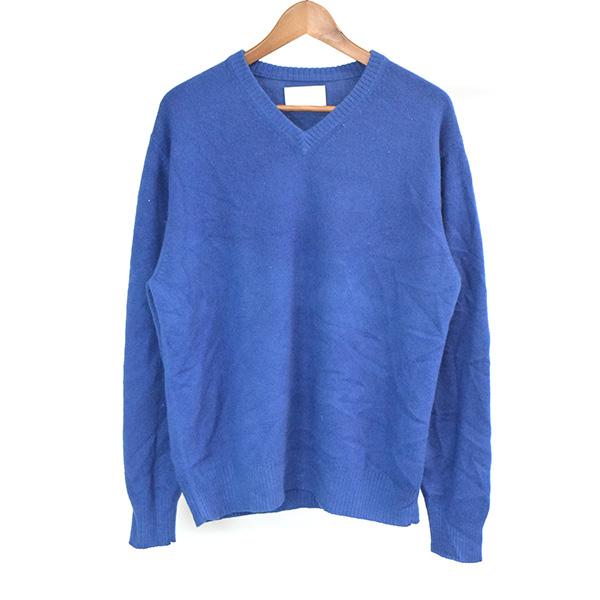 【中古】7×7 セブンバイセブン ×LITMUS 藍染めカシミアニットセーター メンズ ブルー