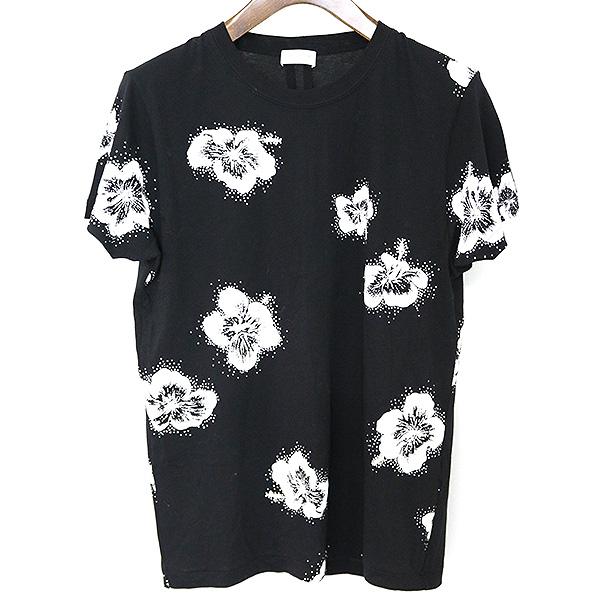 【中古】SAINT LAURENT PARIS サンローラン パリ 16AW ハイビスカスラメプリントTシャツ メンズ ブラック XS