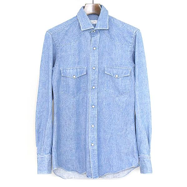 6515177f86 Salvatore Piccolo サルヴァトーレピッコロピリング processing denim western shirt men sax  blue 36