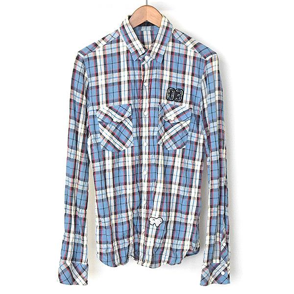 【中古】roar ロアー ワッペンチェック柄長袖シャツ メンズ ブルー 1