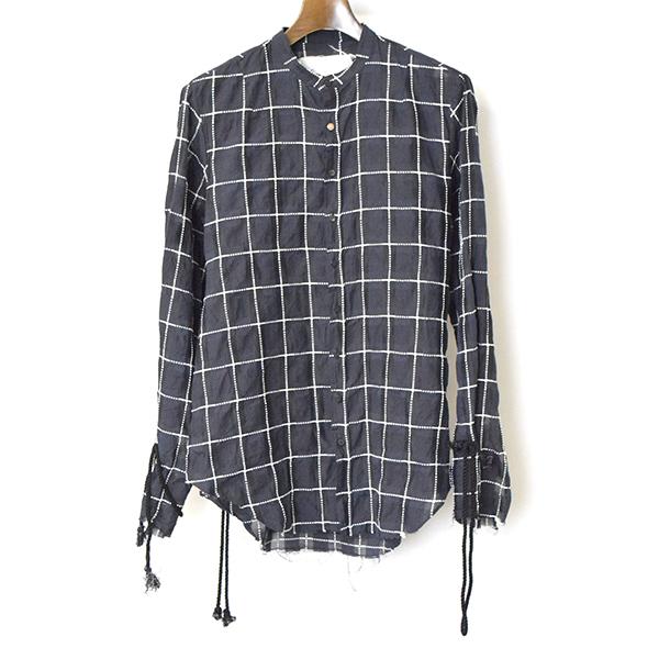 【中古】BLACKBIRD ブラックバード lyricist shirt ウインドウペーンリリシストシャツ メンズ ネイビー 0