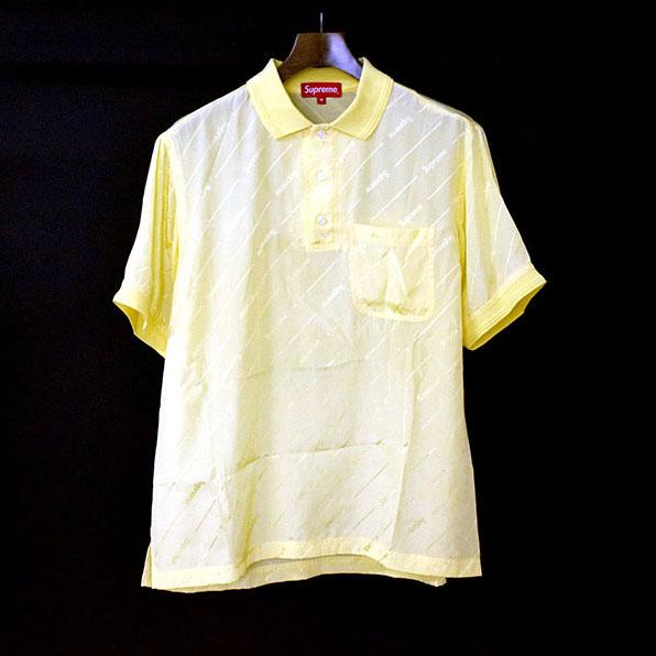 【中古】Supreme シュプリーム 18SS Jacquard Logo Silk Polo ロゴジャガードシルクポロシャツ メンズ イエロー M