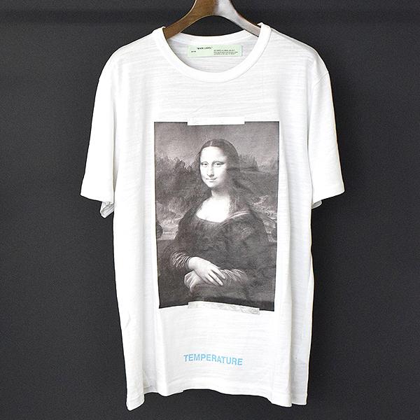 【中古】OFF-WHITE オフホワイト 18SS MONALIZA モナリザプリントTシャツ メンズ ホワイト XL