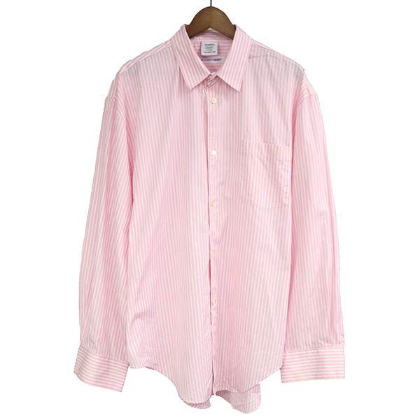 【中古】VETEMENTS ヴェトモン ×COMME des GARCONS SHIRT 17SS オーバーサイズストライプシャツ メンズ ピンク M