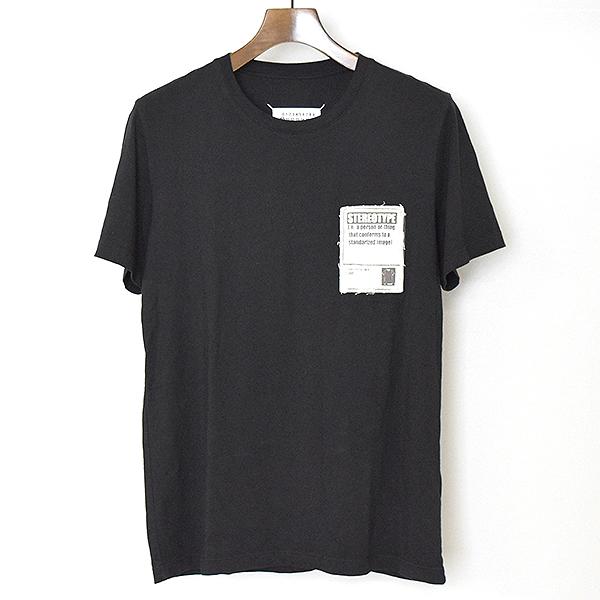 【中古】Maison Martin Margiela10 メゾンマルタンマルジェラ10 18SS STEREOTYPEパッチTシャツ メンズ ブラック 44