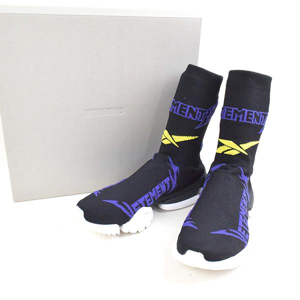 【中古】VETEMENTS×Reebok ヴェトモン 18AW Sock Pump Logo-Jacquard Sock Sneakers ソックスニーカー メンズ ブラック 42(27cm)