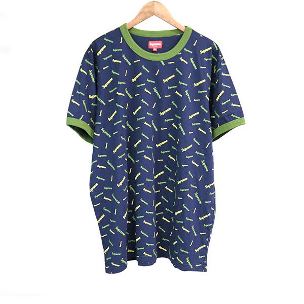 【中古】Supreme シュプリーム 18AW Scatter Ringer 総柄プリントTシャツ メンズ ネイビー XL