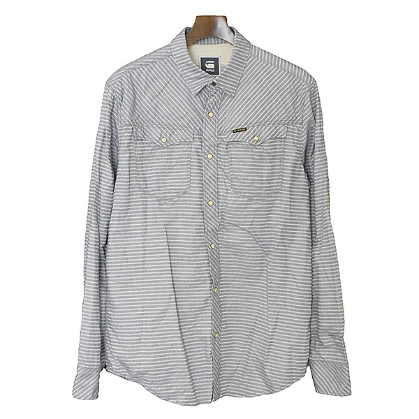 b28a20825fa21e MODESCAPE Rakuten Ichiba Shop: G-STAR RAW ジースターロゥ 14SS ARC 3D SHIRT L/S  stripe western shirt men gray XL   Rakuten Global Market