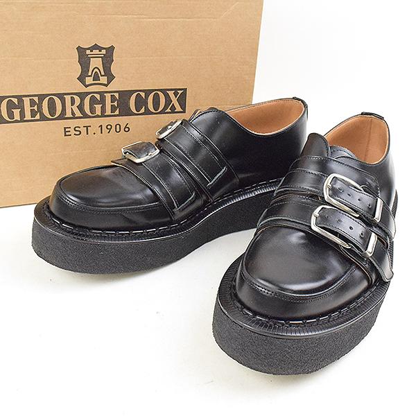 【中古】GEORGE COX ジョージコックス 18SS ×COMME des GARCONS HOMME PLUS ダブルストラップ ラバーソールレザーシューズ メンズ ブラック 8(27cm程度)