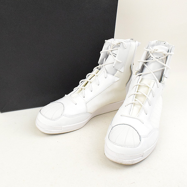 a97d0a066fbfb Yohji Yamamoto toothpick Yamamoto x adidas 17SS YY PUNK SUPERSTAR leather  combination neoprene high-top sneakers men white 26cm