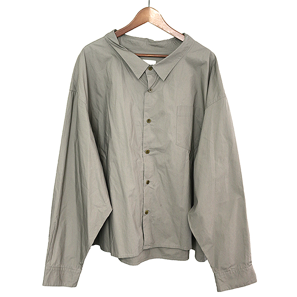 【中古】whowhat フーワット 17AW 5X SHIRT SHORT LENGTH ショートレングスシャツ メンズ グレー F
