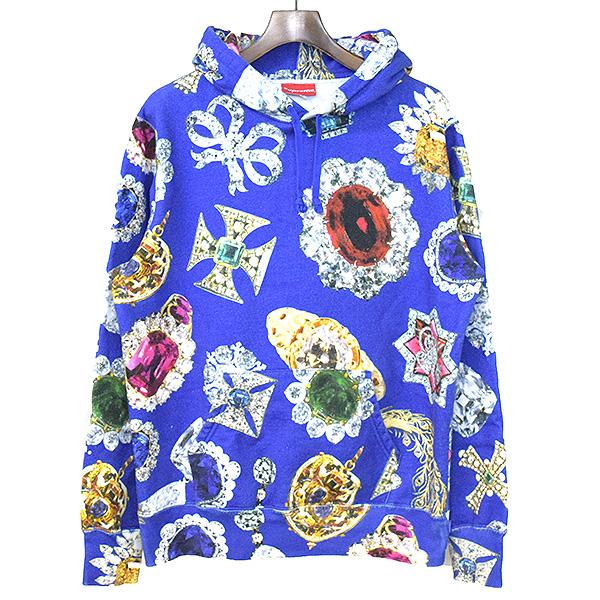 【中古】Supreme シュプリーム 18AW Jewels Hooded Sweatshirt プリントパーカー メンズ ブルー M