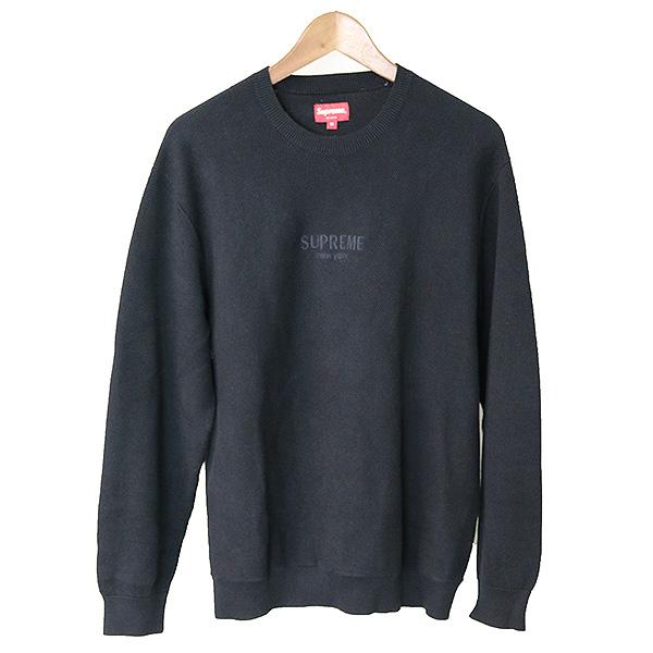 【中古】Supreme シュプリーム 18AW Pique Crewneck ピケクルーネックコットンニットセーター メンズ ブラック L