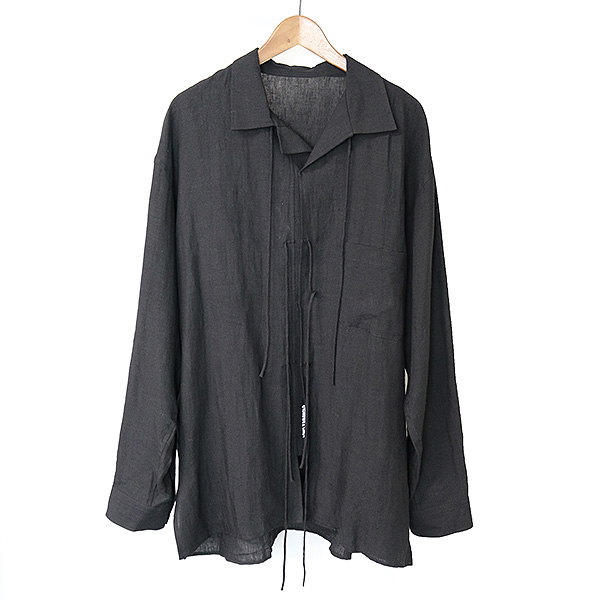 【中古】Yohji Yamamoto POUR HOMME ヨウジヤマモト プールオム リボンデザインリネンシャツ メンズ ブラック 3