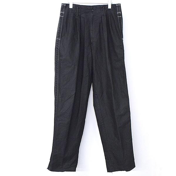 【中古】Y's for men ワイズフォーメン 06AW サイドステッチライン2タックコットンワイドパンツ メンズ ブラック 2