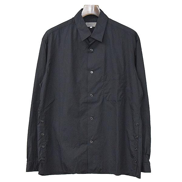【中古】Yohji Yamamoto POUR HOMME ヨウジヤマモトプールオム 15SS サイドボタンコットンブロードシャツ メンズ ブラック 3