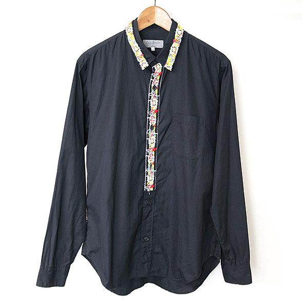 【中古】Yohji Yamamoto POUR HOMME ヨウジヤマモトプールオム 13SS チロリアンテープブロードシャツ メンズ ブラック 2