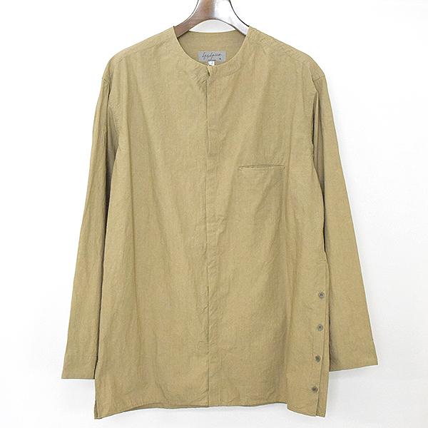 【中古】Yohji Yamamoto POUR HOMME ヨウジヤマモトプールオム 18SS タイプライターノーカラーシャツ メンズ ベージュ 2