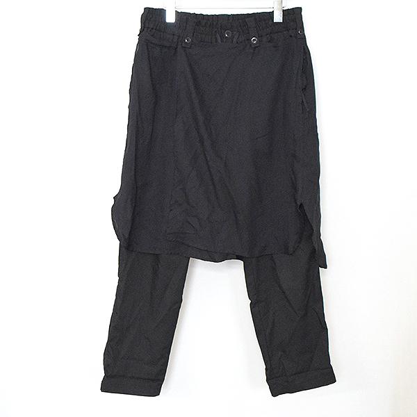 【中古】s'yte by Yohji Yamamoto サイト バイ ヨウジヤマモト 17SS スカートレイヤードサルエルテーパードパンツ メンズ ブラック M