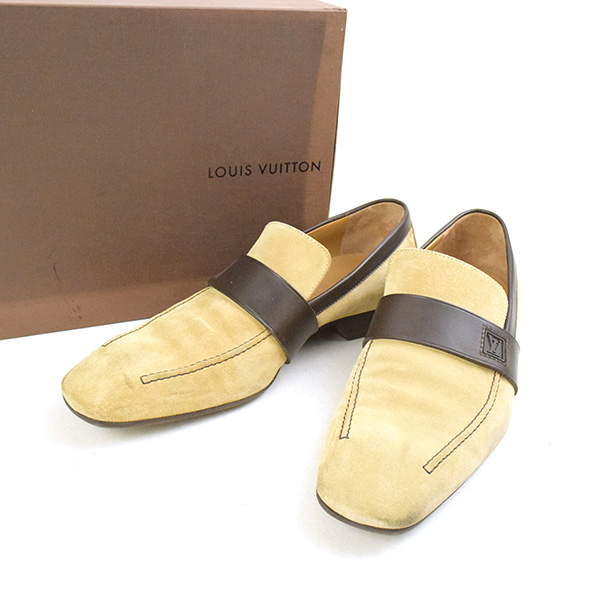 d33bcbc373ba5 MODESCAPE Rakuten Ichiba Shop  LOUIS VUITTON Louis Vuitton square toe suede  leather shoes men beige 8 1 2