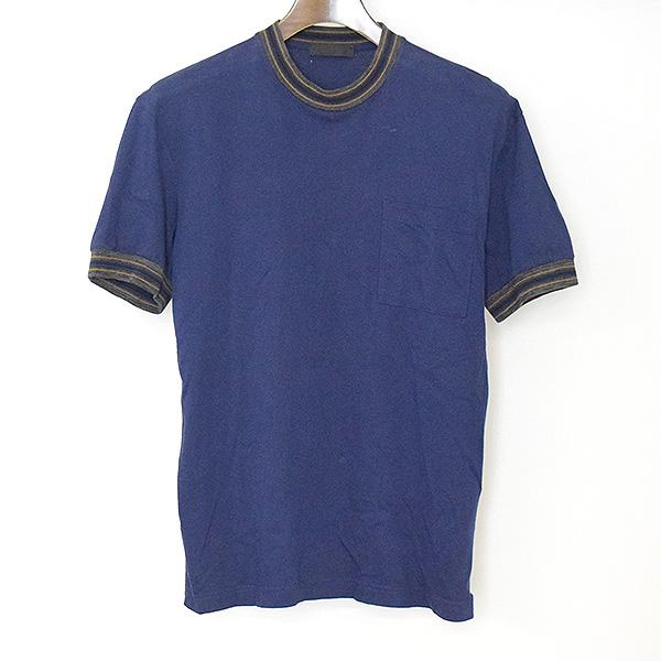 【中古】PRADA プラダ 14SS リブ切替バックアロハパッチTシャツ メンズ ブルー XS