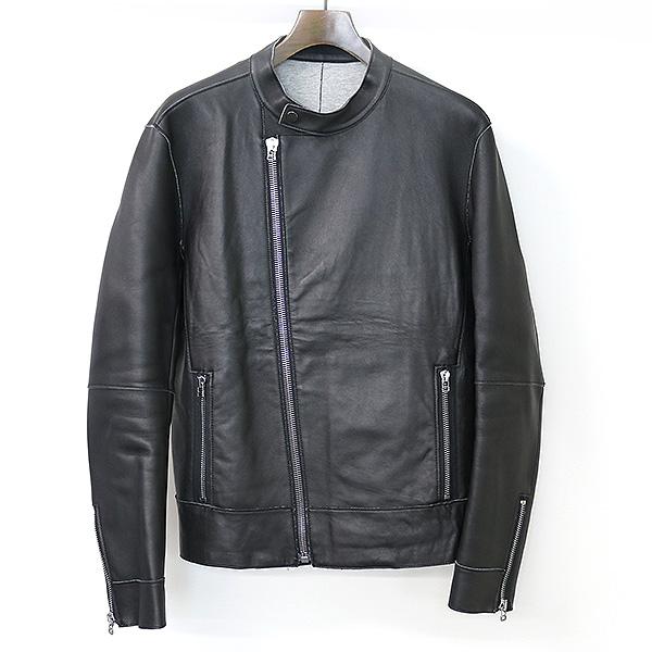 【中古】Calvin Klein カルバンクライン 16SS ボンディングラムレザーライダースジャケット メンズ ブラック 40