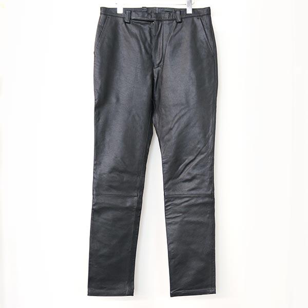 【中古】Paul Smith ポールスミス 16SS LEATHER SLIM PANTS バッファローレザースリムパンツ メンズ ブラック L