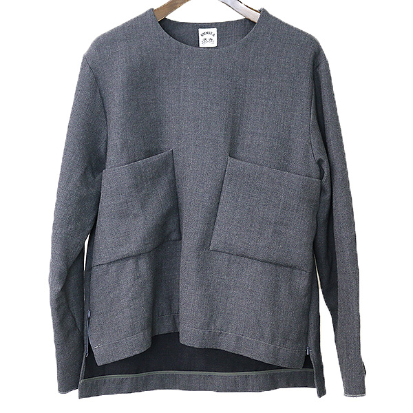 【中古】SUNSEA サンシー 15AW W Face Wool Long Sleeve Pull Over ウールプルオーバーシャツ メンズ グレー 2