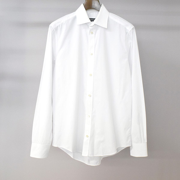 【中古】BALENCIAGA バレンシアガ 17SS 袖ロゴ刺繍シャツ ホワイト 39 メンズ