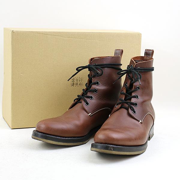 【中古】SUNSEA サンシー 17AW Leather Desert Boots レザーデザートブーツ メンズ ブラウン 2(27cm程度)