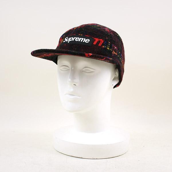 【中古】Supreme×Harris Tweed シュプリーム×ハリスツイード 18AW Wool Camp Cap ロゴウールキャップ 帽子 メンズ レッド