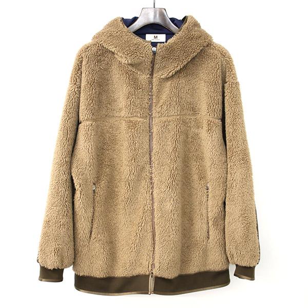【中古】M エム 18AW fleece mountanir hoodie ボアフリースフーデッドジャケット メンズ ブラウン L